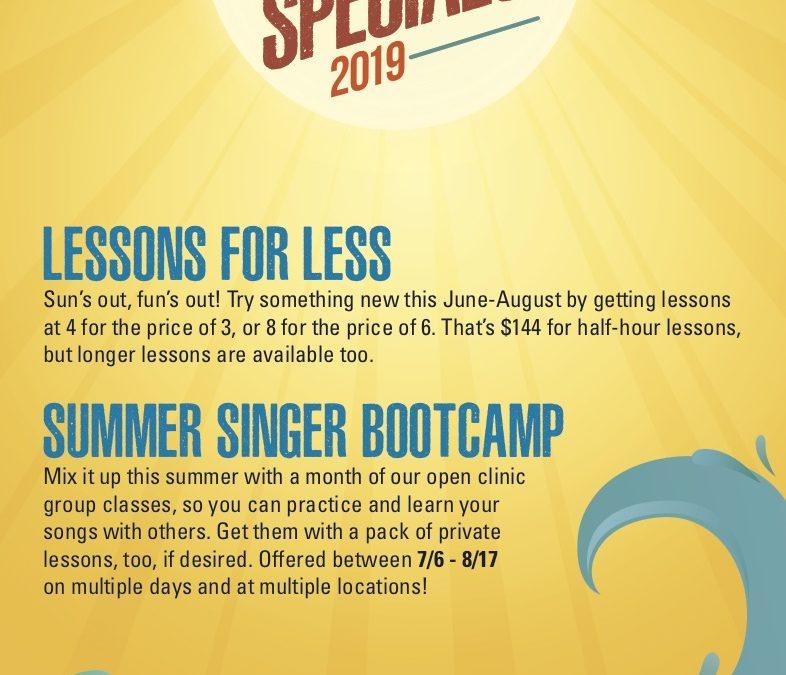 Summer Specials at Molly's Music, 2019